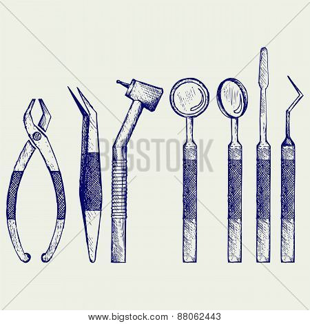 Set of medical equipment tools for teeth dental care