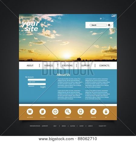 Website Design Template for Your Business with Sunset Photo Background