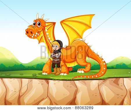Knight standing next to the dragon