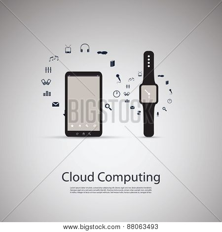 Electronic Devices - Mobile Phone with Smart Watch - Cloud Computing Design