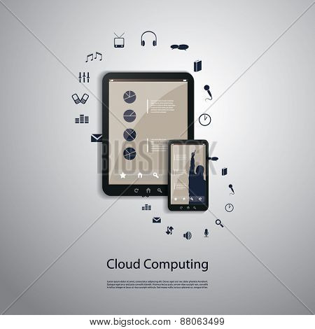 Cloud Computing Concept - Connection, Sync, Download, Upload