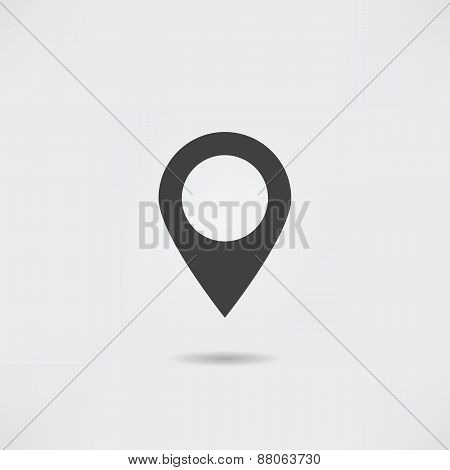 Map Pointer Icon. Flat Location Sign.