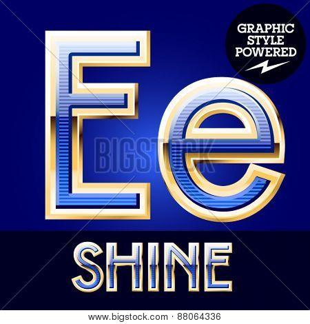 Blue striped alphabet with golden border. Letter E