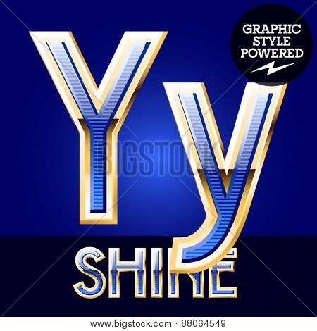 Blue striped alphabet with golden border. Letter Y