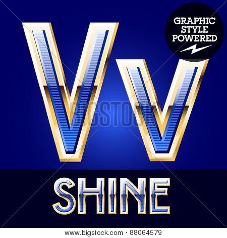 Blue striped alphabet with golden border. Letter V