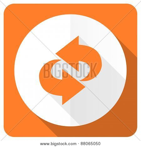 rotation orange flat icon refresh sign
