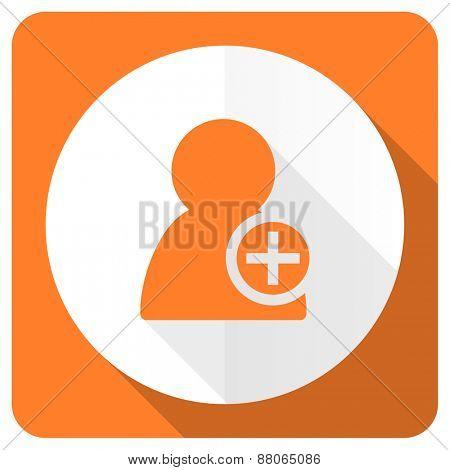 add contact orange flat icon