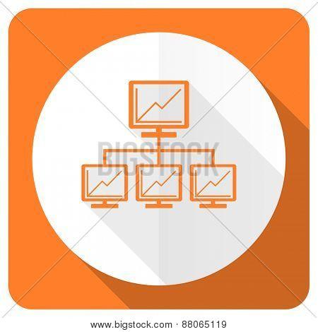 network orange flat icon lan sign