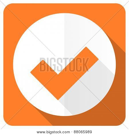 accept orange flat icon check sign