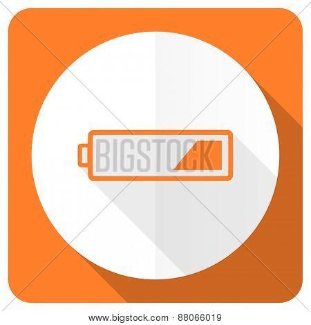 battery orange flat icon charging symbol power sign