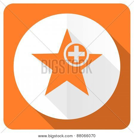 star orange flat icon add favourite sign