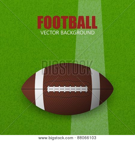 Football On A Grass Field. Vector Illustration.