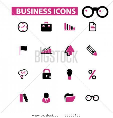 business, management, office isolated icons, signs, symbols, illustrations web design template concept set on white background for website, application