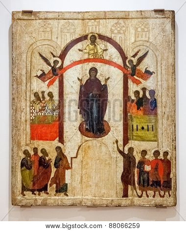 Antique Russian Orthodox Icon. The Protection Of The Virgin Painted On Wooden Board