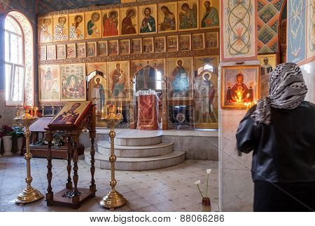 Orthodox Christians Inside The Church Of  Resurrection In The Holy Resurrection Monastery