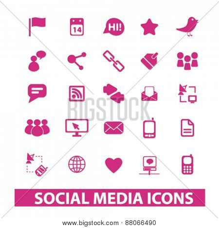 social media, networks, community, blog isolated icons, signs, symbols, illustrations web design template concept set on white background for website, application