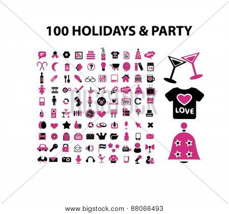 100 holidays, event, celebration, dj, party isolated icons, signs, symbols, illustrations web design template concept set on white background for website, application
