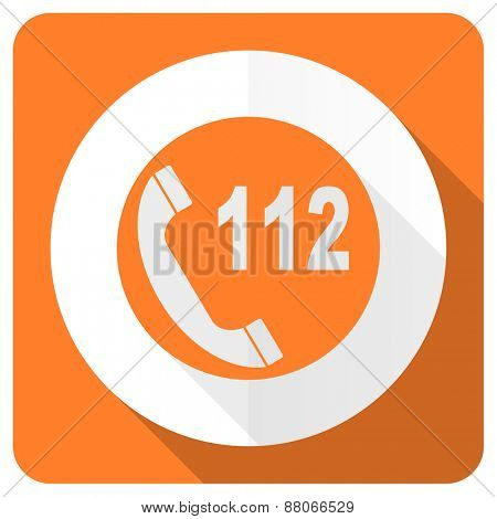 emergency call orange flat icon 112 call sign