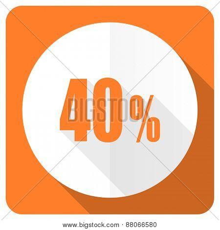 40 percent orange flat icon sale sign