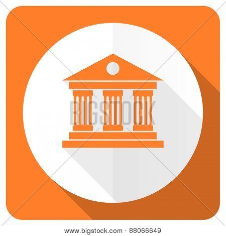 museum orange flat icon