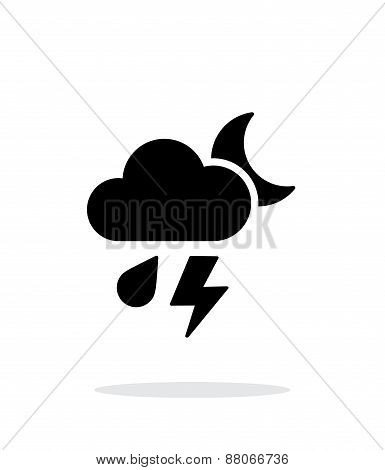Rain at night weather simple icon on white background.