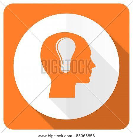 head orange flat icon human head sign