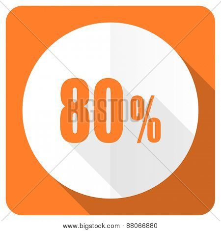 80 percent orange flat icon sale sign