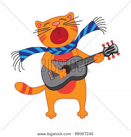singing cat, plays guitar on white background.