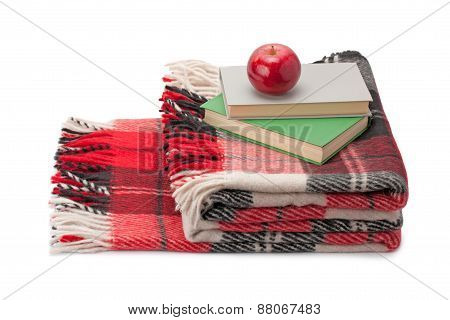 Blanket, Books And Apple