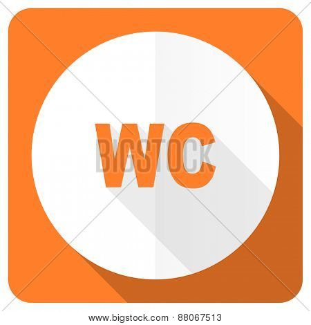 toilet orange flat icon wc sign