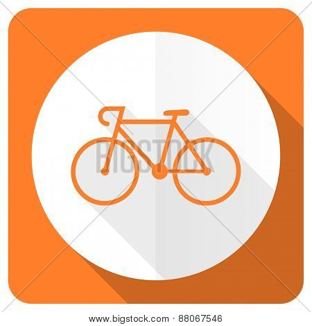 bicycle orange flat icon bike sign