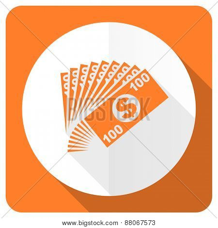 money orange flat icon cash symbol