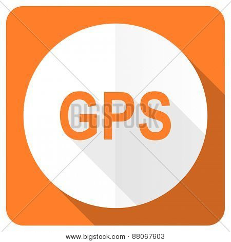gps orange flat icon