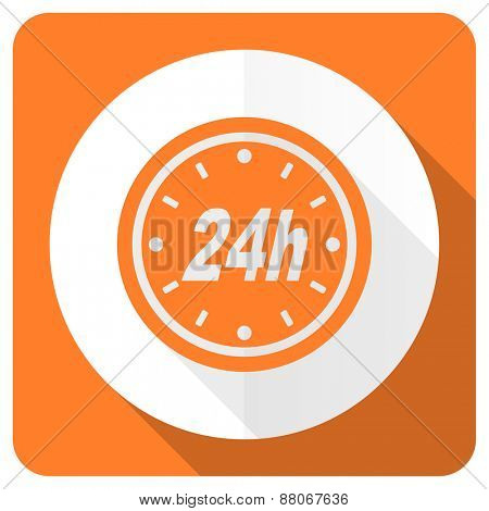 24h orange flat icon