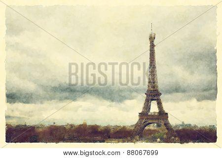 Watercolour landscape view of Paris and the Eiffel Tower. EPS10 vector format.