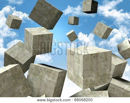 falling abstract concrete cubes in the sky