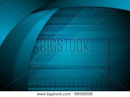 Abstract blue wavy tech background. Vector design
