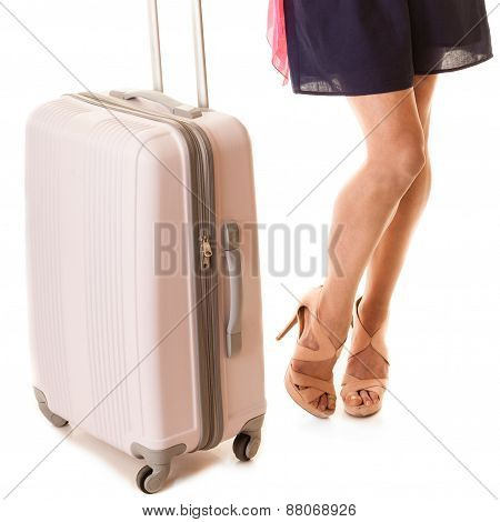 Travel And Vacation. Female Legs With Suitcase Bag.