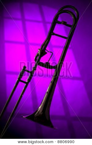 Trombone Silhouette On Purple