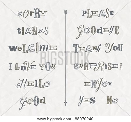 Vector set - hand drawn phrases and words