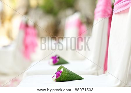 pink and white wedding setup