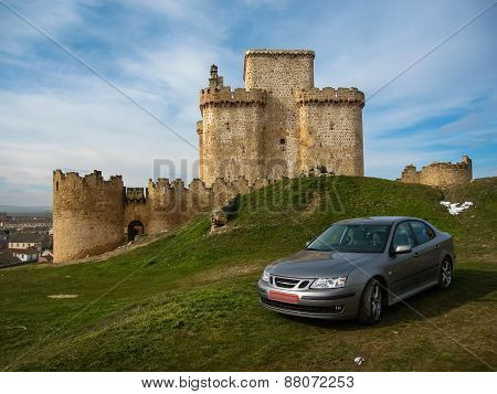 Turegano Castle And A Car, Castilla Y Leon, Spain