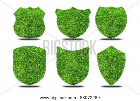Set Green Grass Shields On White Background