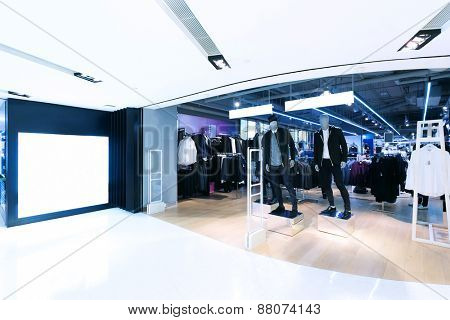 fashion clothes shopfront in shopping mall