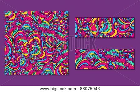Set of bright abstract patterns and banners.