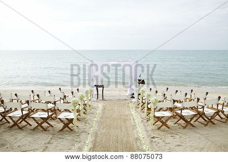 White theme beach wedding setup