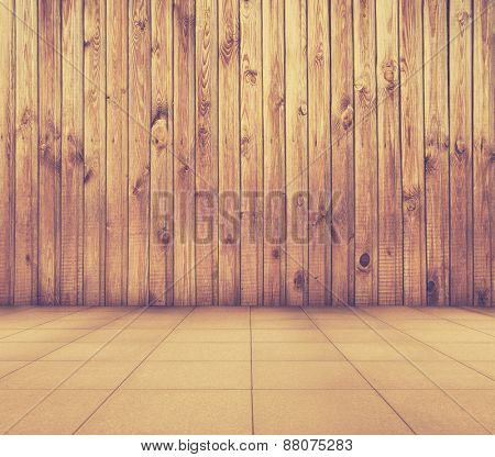 old interior with wooden wall and tiled floor, vintage background, retro filtered, instagram style