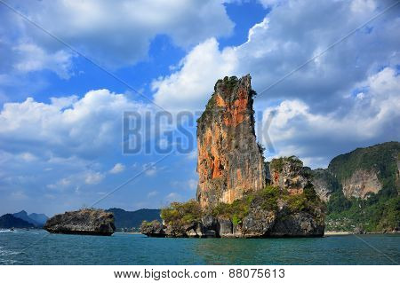 Orange Cliff In Thailand