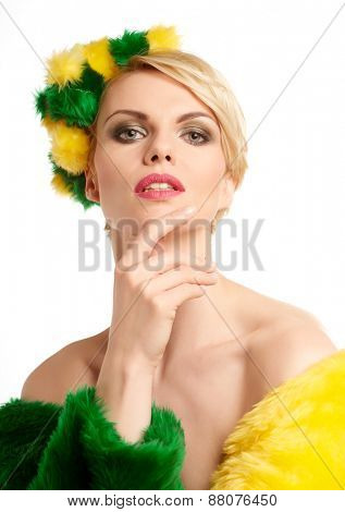 Spring woman portrait  isolated on white
