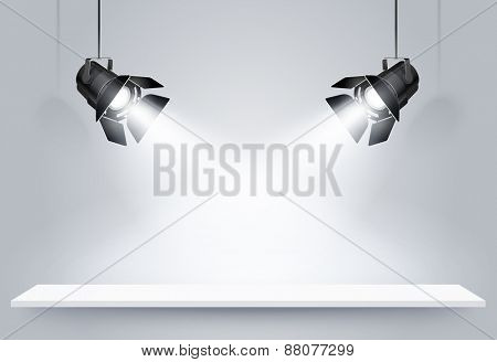 Gallery Interior with black lamps. Vector illustration